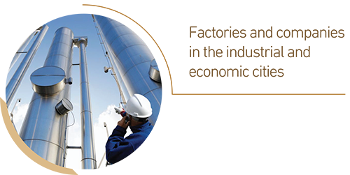 Factories and companies in the industrial and economic cities